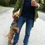 Hund kuschelt mit Mann